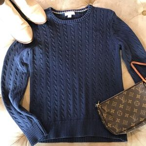LILLY PULITZER Cable Knit Sweater, Navy, M